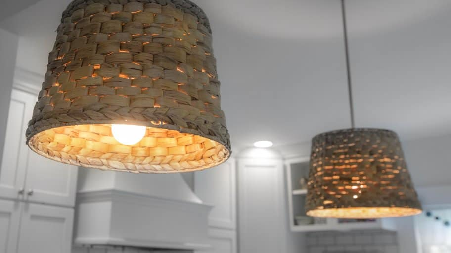 Kitchen Pendant Lights With Basket Shades. Flickering Lights, Hot Ceiling  Fixtures ...