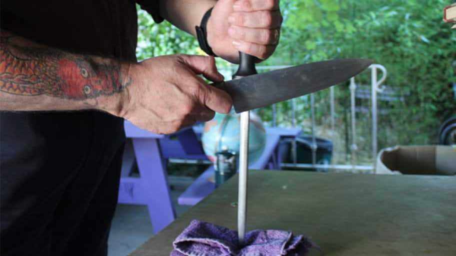 The steel does not take metal off your knife or change the basic edge you already have, rather it simply aligns the thin delicate edge into a straight and useful tool, says Smith. (Photo courtesy of Patron Saint of Knives)