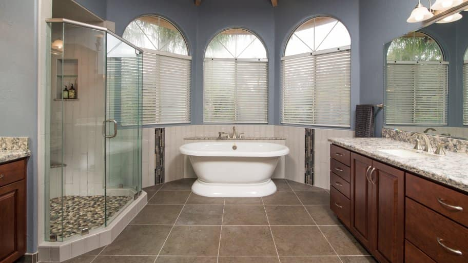 Luxe luxury bathroom remodel claw freestanding tub tile upgrade