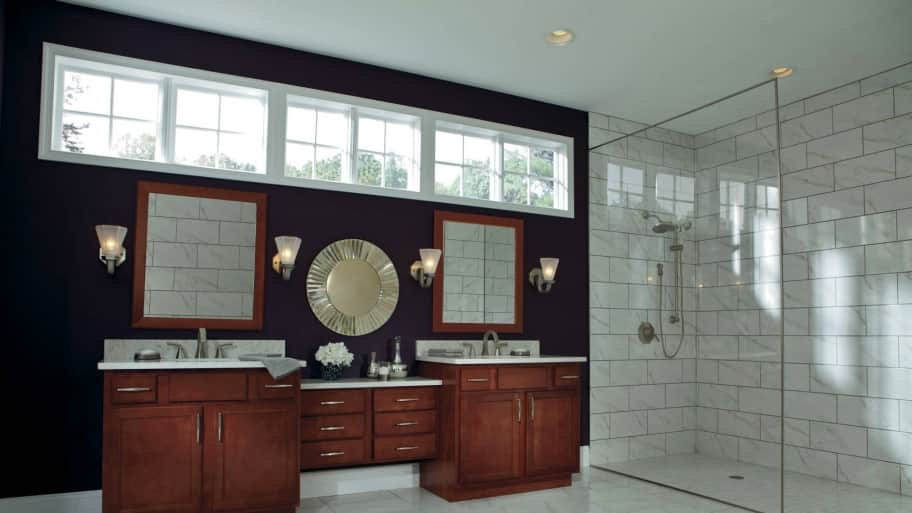 Dark Stained Bathroom Vanity With Glass Walk In Shower