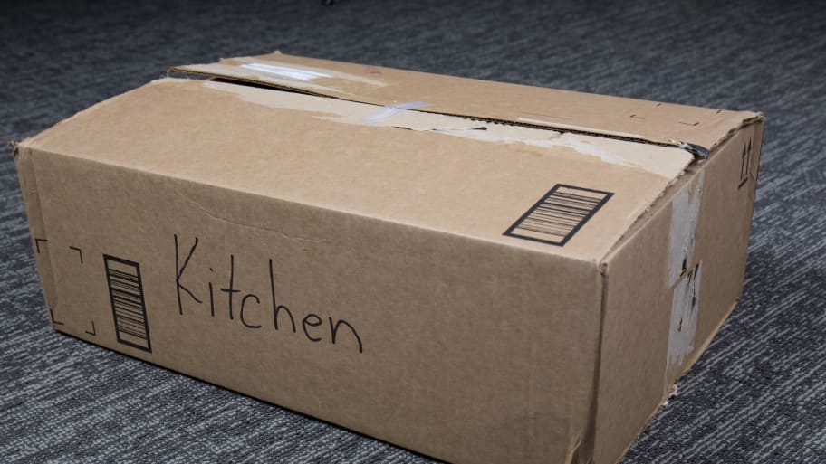 moving box labeled kitchen