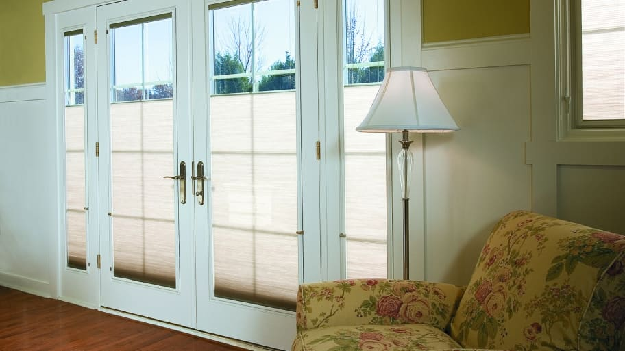 Pella Designer Series wood patio doors with folding hinges & Which Patio Door Material is Best for My Home?   Angie\u0027s List