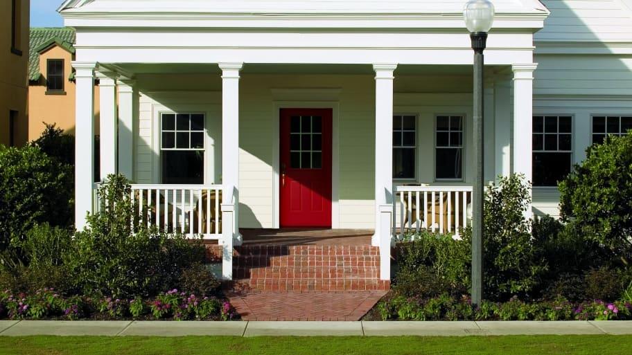 red metal Pella front door