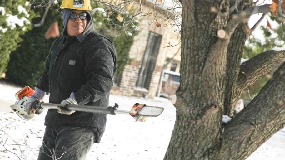 Tree trim man chainsaw danger cut snow service