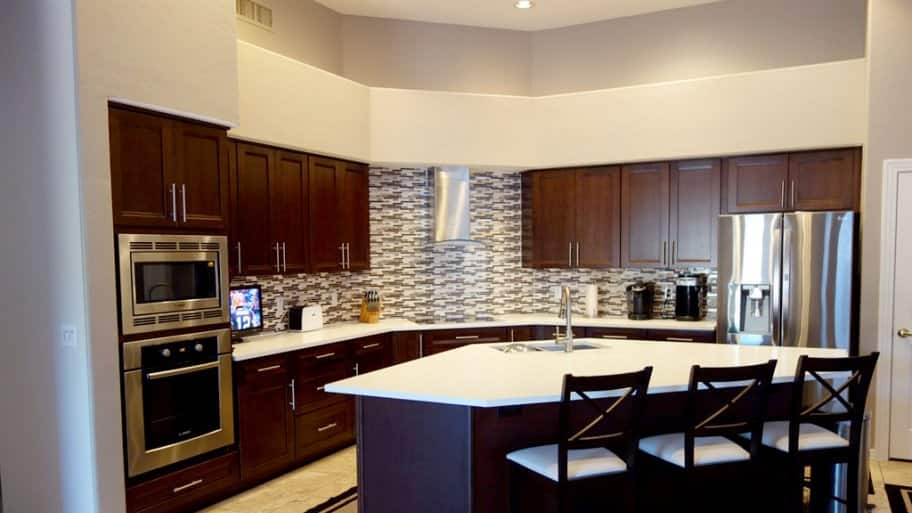 traditional stained wood cabinets