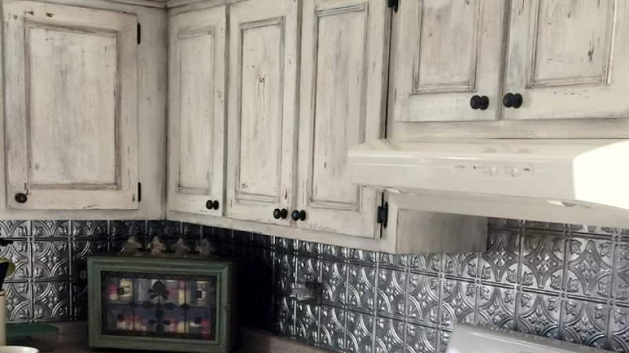 White Wash Distressed Cabinets. Gray Painted Kitchen Cabinets