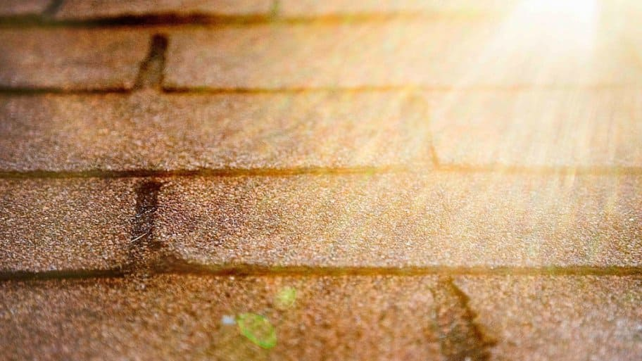 sunlight reflecting off roof shingles
