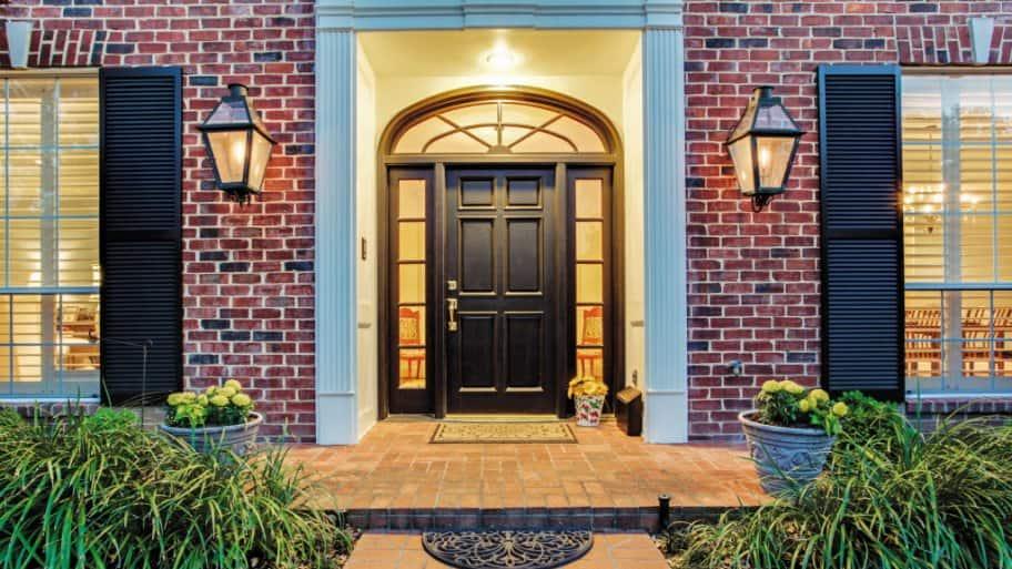 Exterior door with side windows