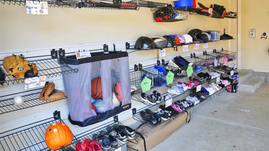 shoe storage in a garage