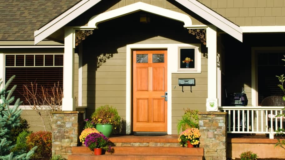 exterior front door with decor