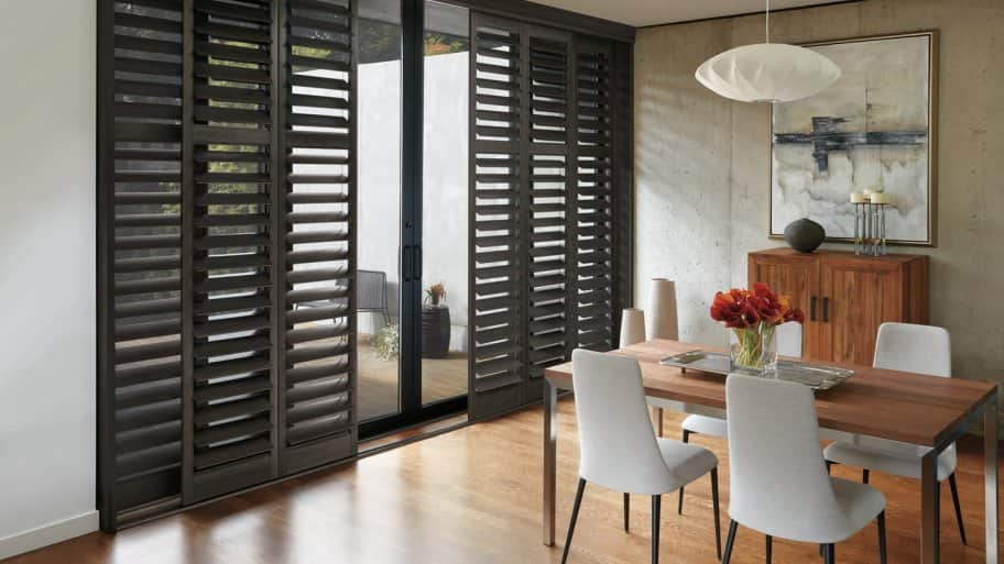 Shutters on sliding glass doors