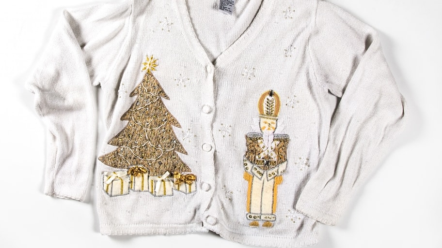 white ugly christmas sweater with tree