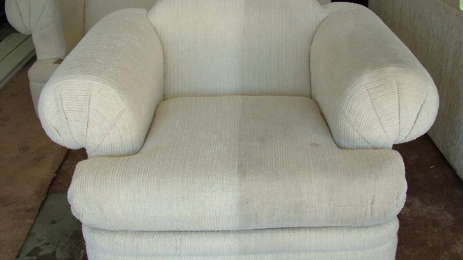 Delightful White Chair Before And After Upholstery Cleaning