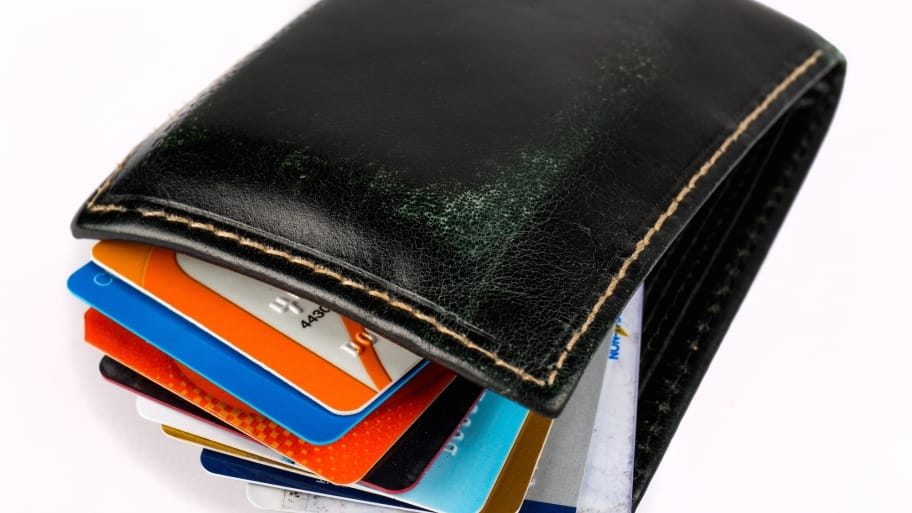 wallet with credit and debit cards