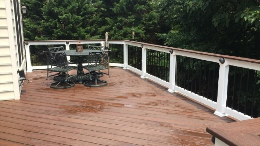 If you prep your deck before winter and shovel snow only when necessary, you'll give your deck a better chance of surviving the winter without major damage. (Photo courtesy of member Pamela F. of Alexandria, Virginia)