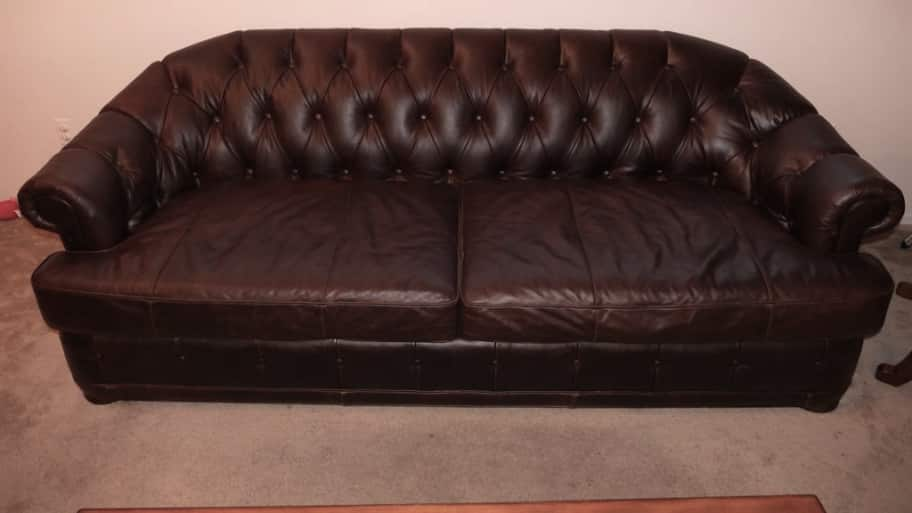 Elegant Brown Leather Couch