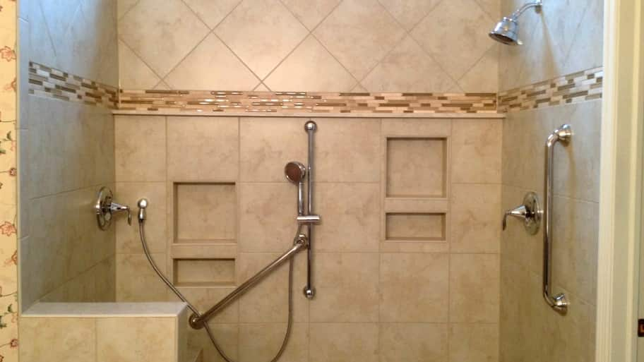 Accessible Shower With Grab Bars Using Universal Design