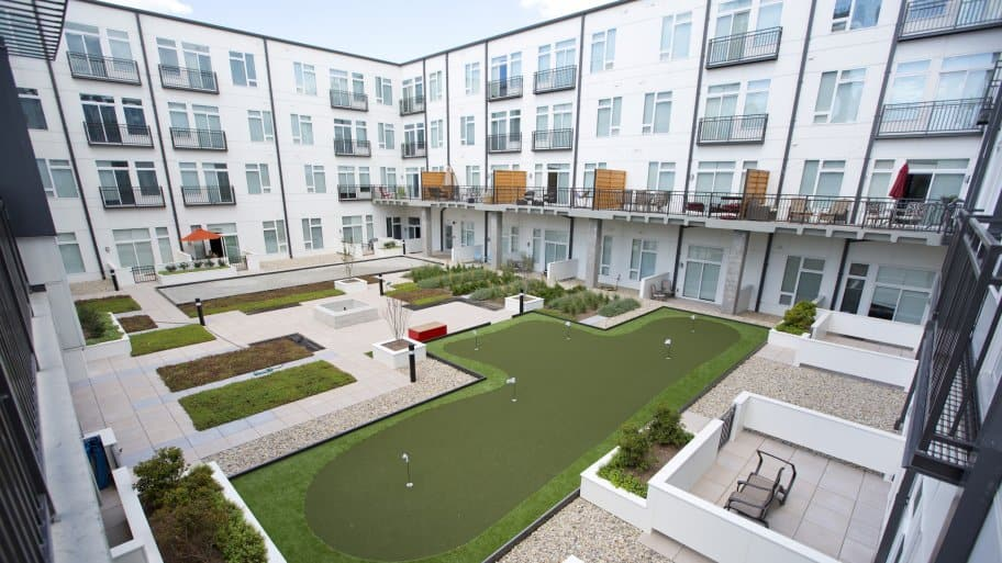 Apartment Courtyard With Putting Greens