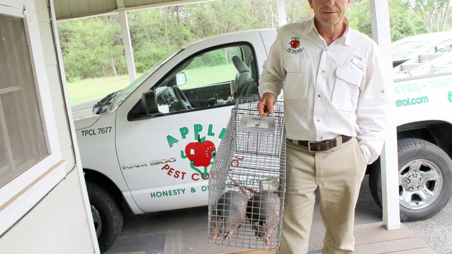 pest control tech removing armadillos