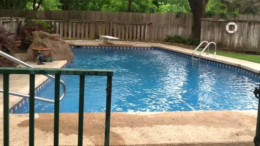 Before Dennis McGullicuddy had his pool resurfaced, it would leak water and swimmers would hurt their feet when walking on the pool's floor. (Photo courtesy of Angie's List member Dennis McGillicuddy of Round Rock, Texas)