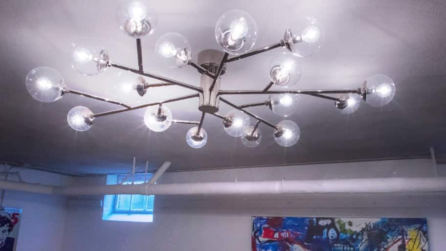 Sputnik chandelier at 2017 Decorators' Show House