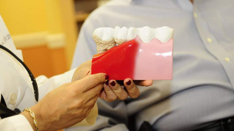 A Dentist Shows Patient Model Of Teeth With Gum Disease