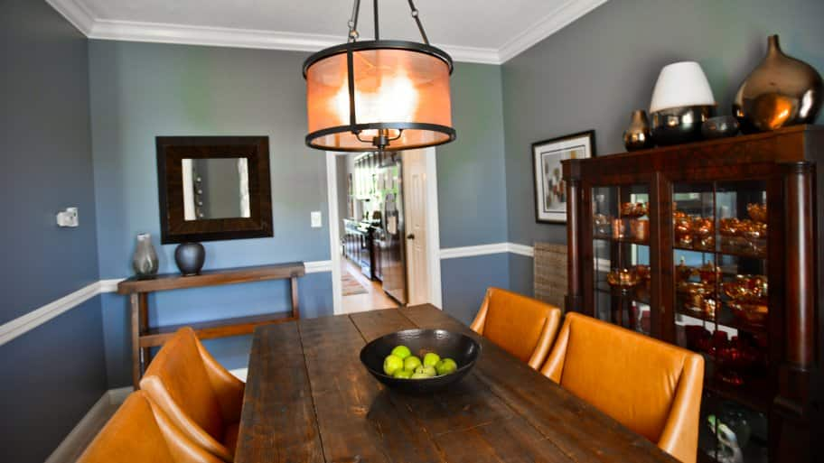 Eclectic Contemporary Dining Room With Modern Lantern Like Chandelier,  Rustic Farmhouse Style Table