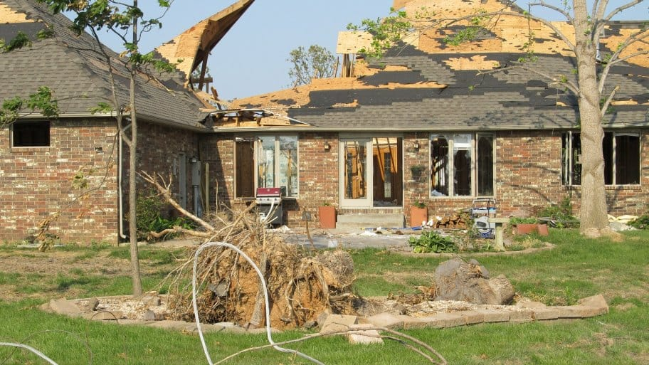 a home with tornado aftermath damage