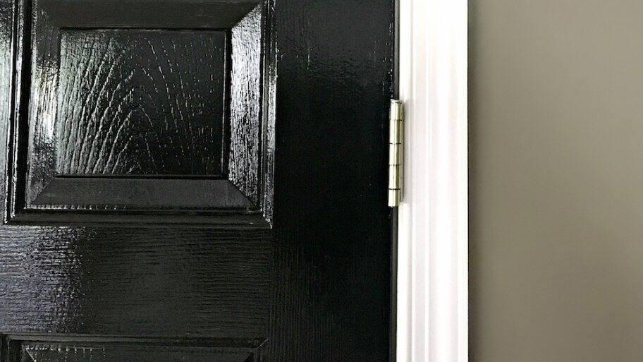 black door with white trim