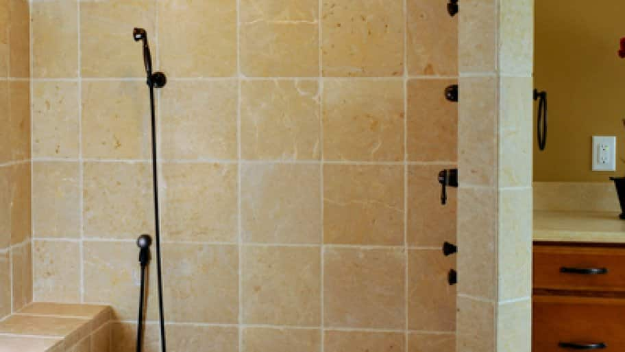 Using smaller one or two square inch tiles on the floor of your shower can reduce slipping, says Keithly. (Photo courtesy of Ideal Plumbing, Heating, Air & Electrical)