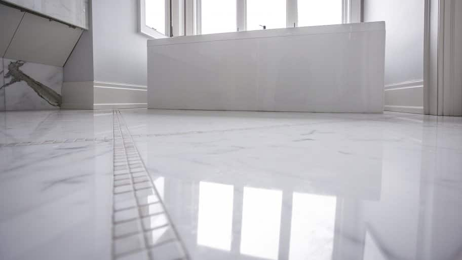 Bathroom floor with heated marble. (Photo by Frank Espich / Angie's List)
