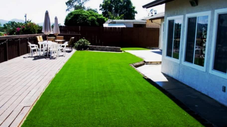 Installation of upkeep-free synthetic turf in this backyard took two days. (Photo courtesy of Angie's List member David Amidon of Santee, Calif.)