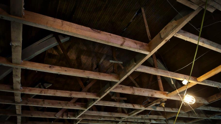 tie beams of a roof truss