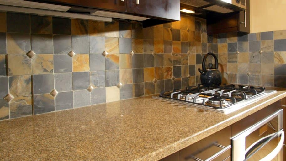 slate tile backsplash in kitchen