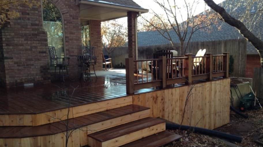 A wood deck, like this one made with Brazilian walnut, or ipe wood, tends to add more value to a home than one made of composite. (Photo courtesy of Angie's List member John B. in Oklahoma City)