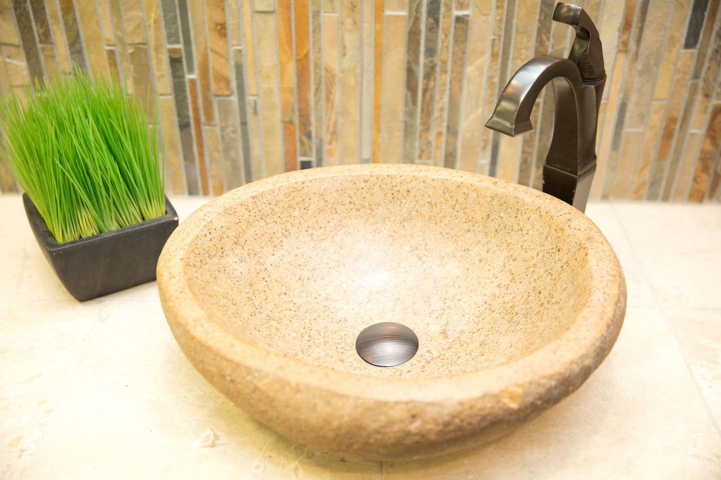 stylish stone bowl sink