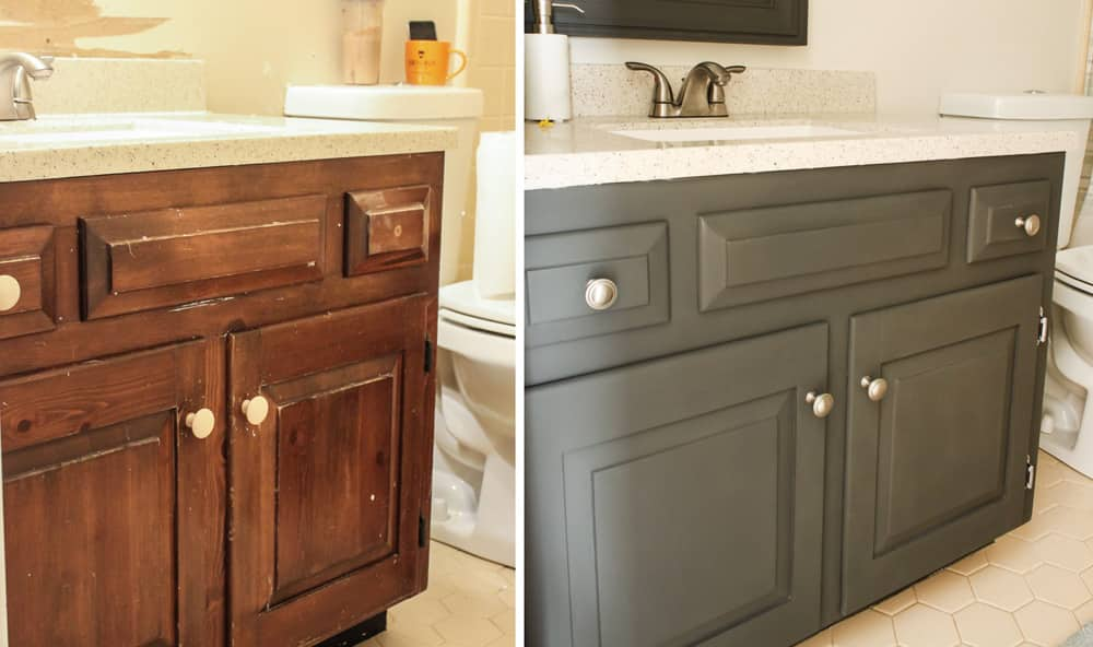 how to paint a bathroom vanity angies list - Bathroom Cabinets Before And After