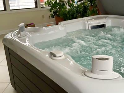 Hot Springs Spa portable hot tub installed inside