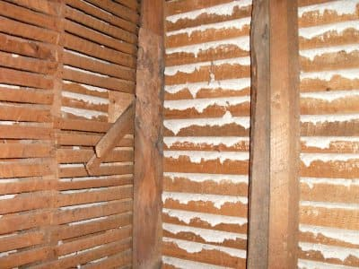 exposed lath wall with plaster key
