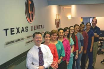 Dr. Wilson Lo and staff in lobby of Texas Dental.