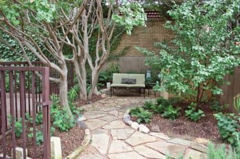 flagstone path with outdoor furniture