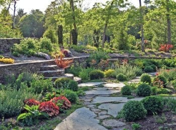 stacked stone garden wall