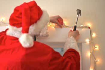 Santa decorating for the holidays