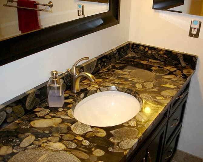 Countertop Height Bathroom : Nero Marinace Granite Bathroom Countertop Angies List