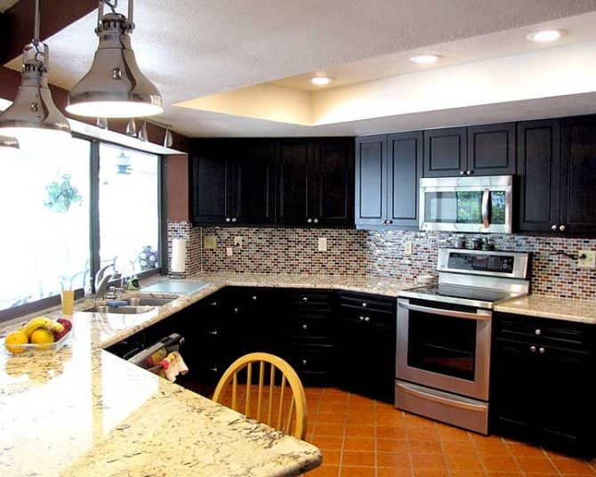 Dark Maple Kitchen Cabinets With Alaska Gold Granite