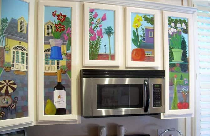 Mural Artwork On Kitchen Cabinets