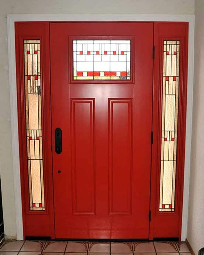 Red Front Door With Stained Glass Sidelights Angie S List