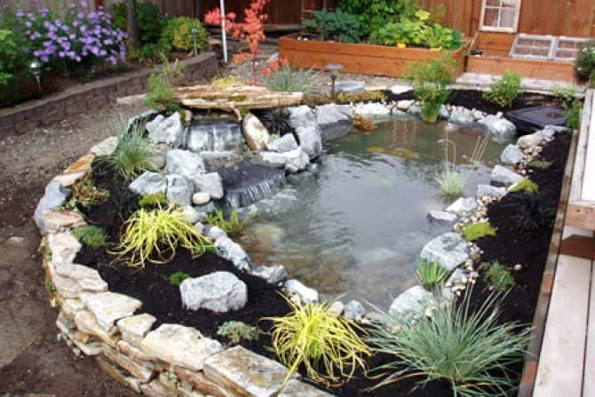 Backyard Water Garden And Waterfall. Raised Flower Bed And Waterfall