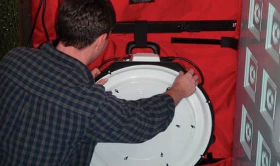 A blower door test identifies leaks in a home's envelope. (Photo courtesy of Ryan Potter)