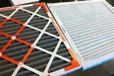 dirty air filter next to clean air filter